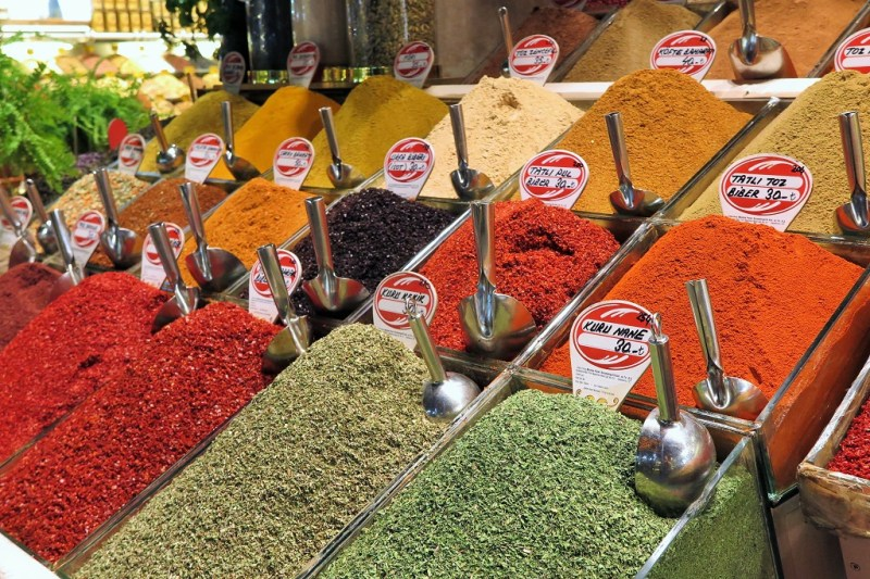 heaps of spices at the Spice Market
