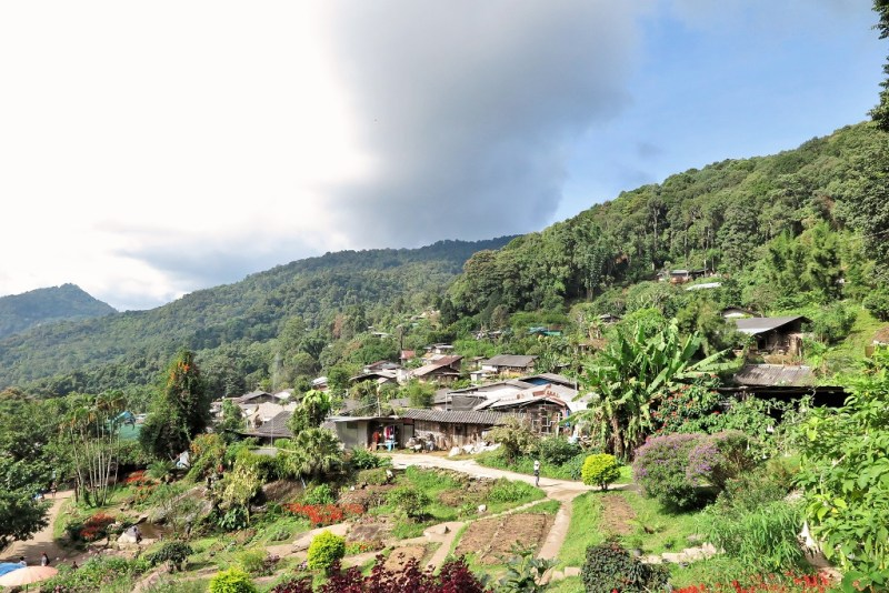view of the Hmong hilltribe village