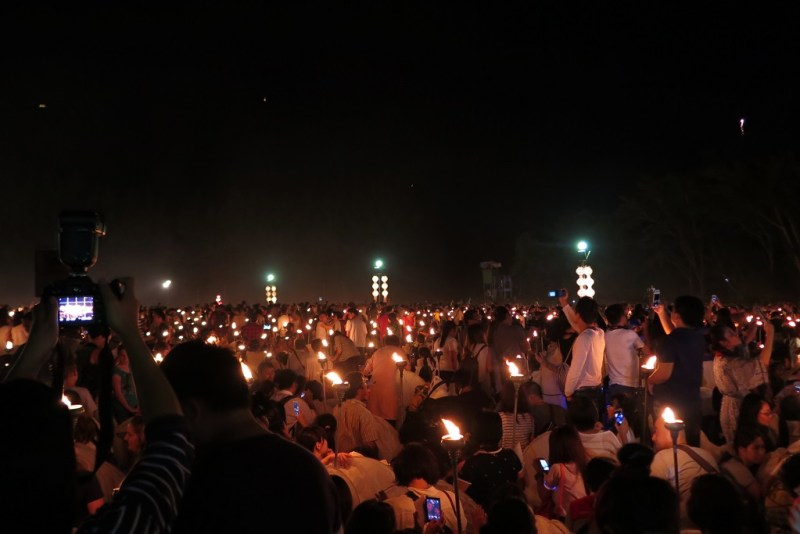 torches on the lawn