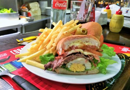 Week 11: Montevideo - the chivito is like the Uruguayan burger: beef, tomatoes, lettuce, mayo, and a hard boiled egg