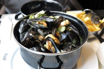 Week 16: Antwerp, Belgium - a bucket of mussels! This is first time I ate mussels and I didn't hate it!