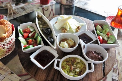 Week 24: istanbul - we discovered Turkish breakfast! A large spread of cheeses, meats, olives, sesame rolls, and the best: honey with clotted cream
