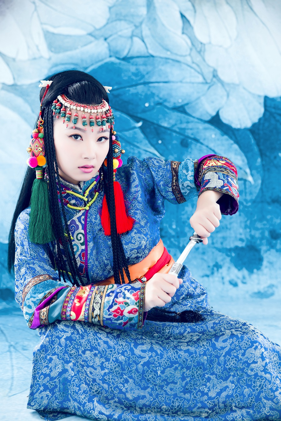 Asian supposedly Chinese theme vintage photo western children in exotic costume and make up