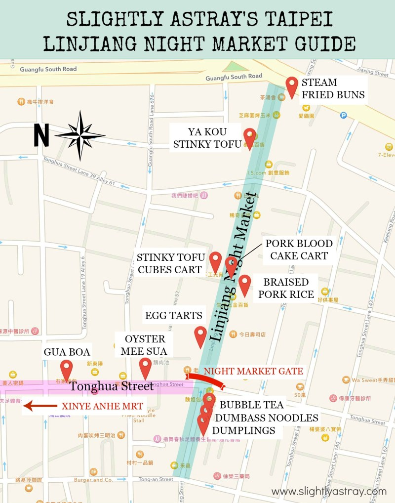 Taipei lin jiang night market map