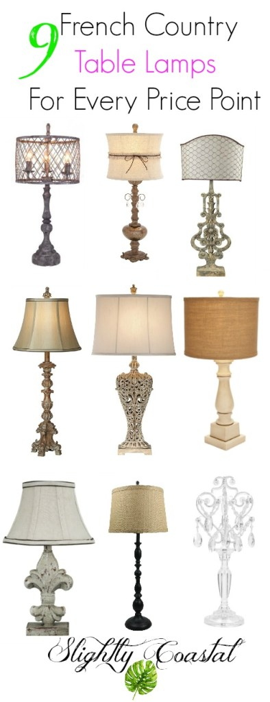 This collection of French Country and Farmhouse lamps is gorgeous. There are so many great looking lamps in this collection at every price point. Some affordable and stylish lamps.