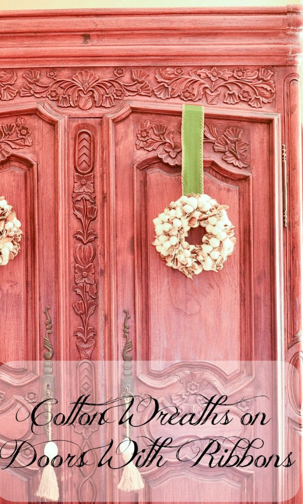 Cotton Wreaths on Doors with Ribbons. French Country Furniture