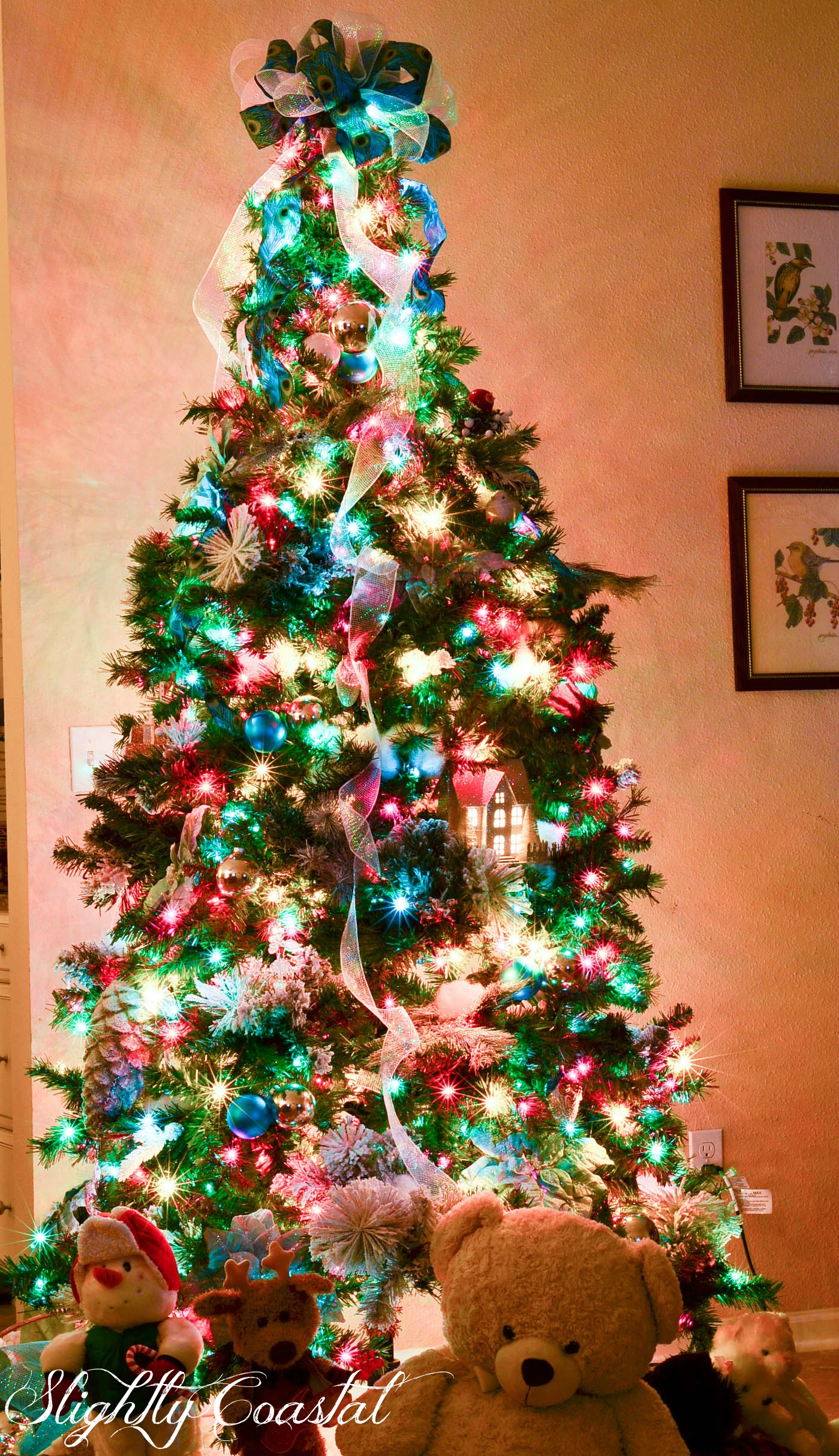 slightly coastal traditional christams tree with colored lights
