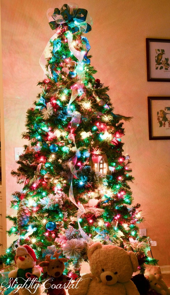 Traditional Christmas Tree With Colored Lights