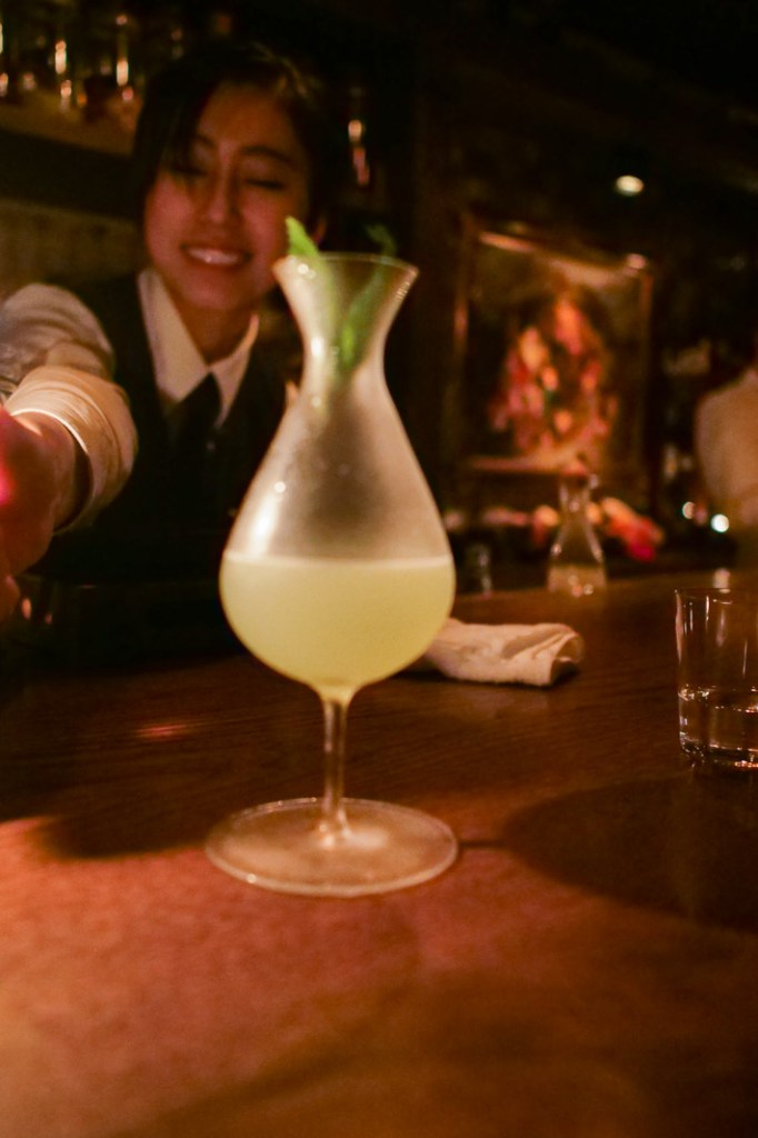 A cool take on a gimlet that Tate got at Bar Ben Fiiddich in Tokyo.