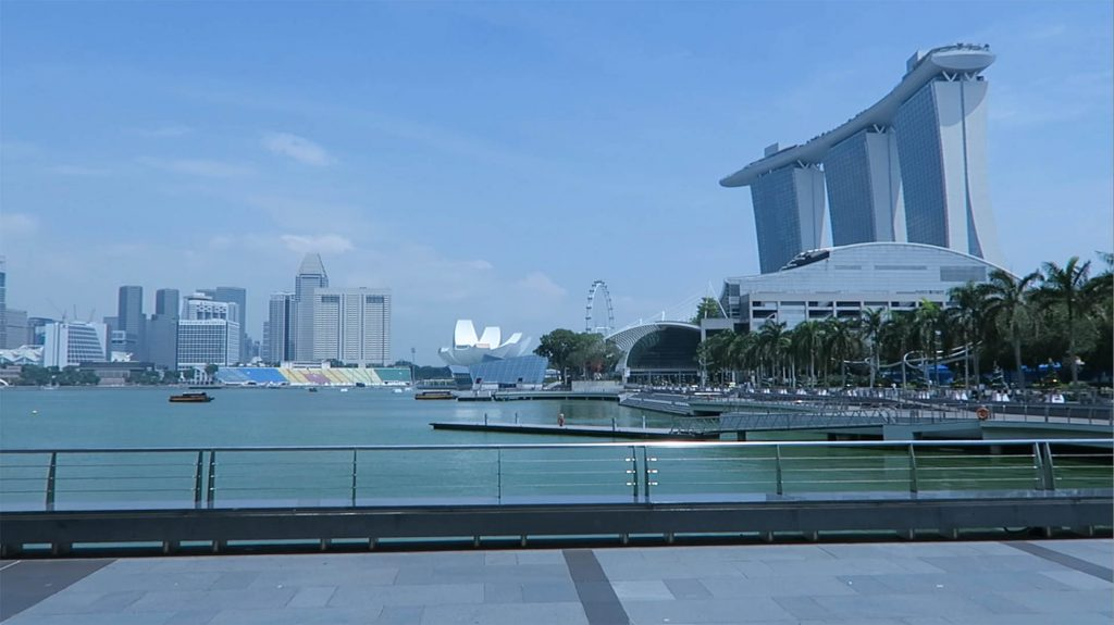 Overlooking Marina Bay in Singapore.