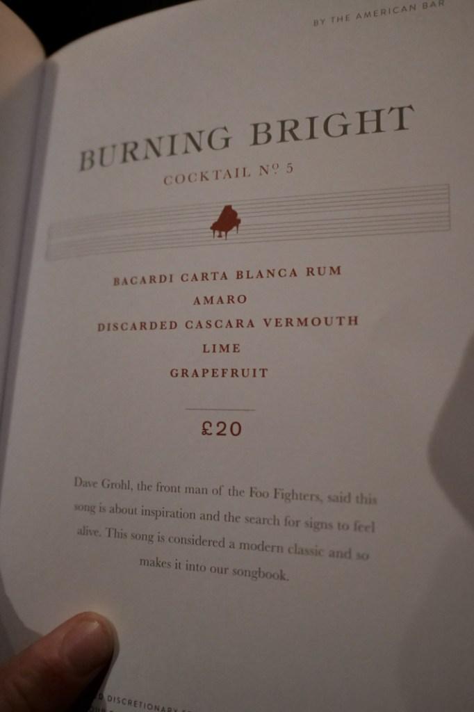 Burning Bright Cocktail at American Bar at the Savoy London.