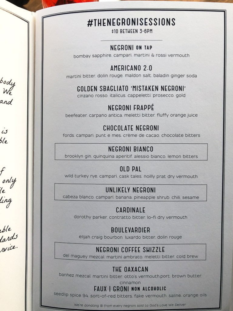 Cafe Dante NYC Negroni Menu