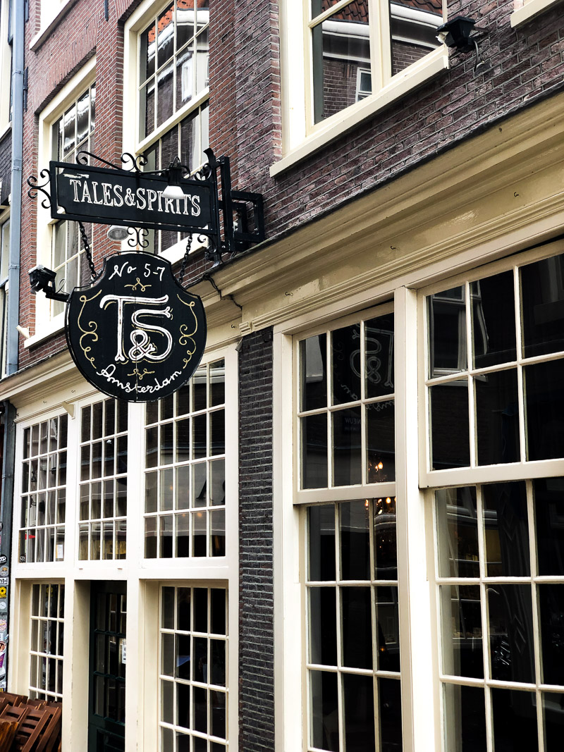 The outside of Tales and Spirits in Amsterdam.