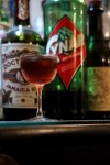 The Artsy Bird is a funky rum negroni variation with sweet vermouth, Doctor Bird rum and Cynar.