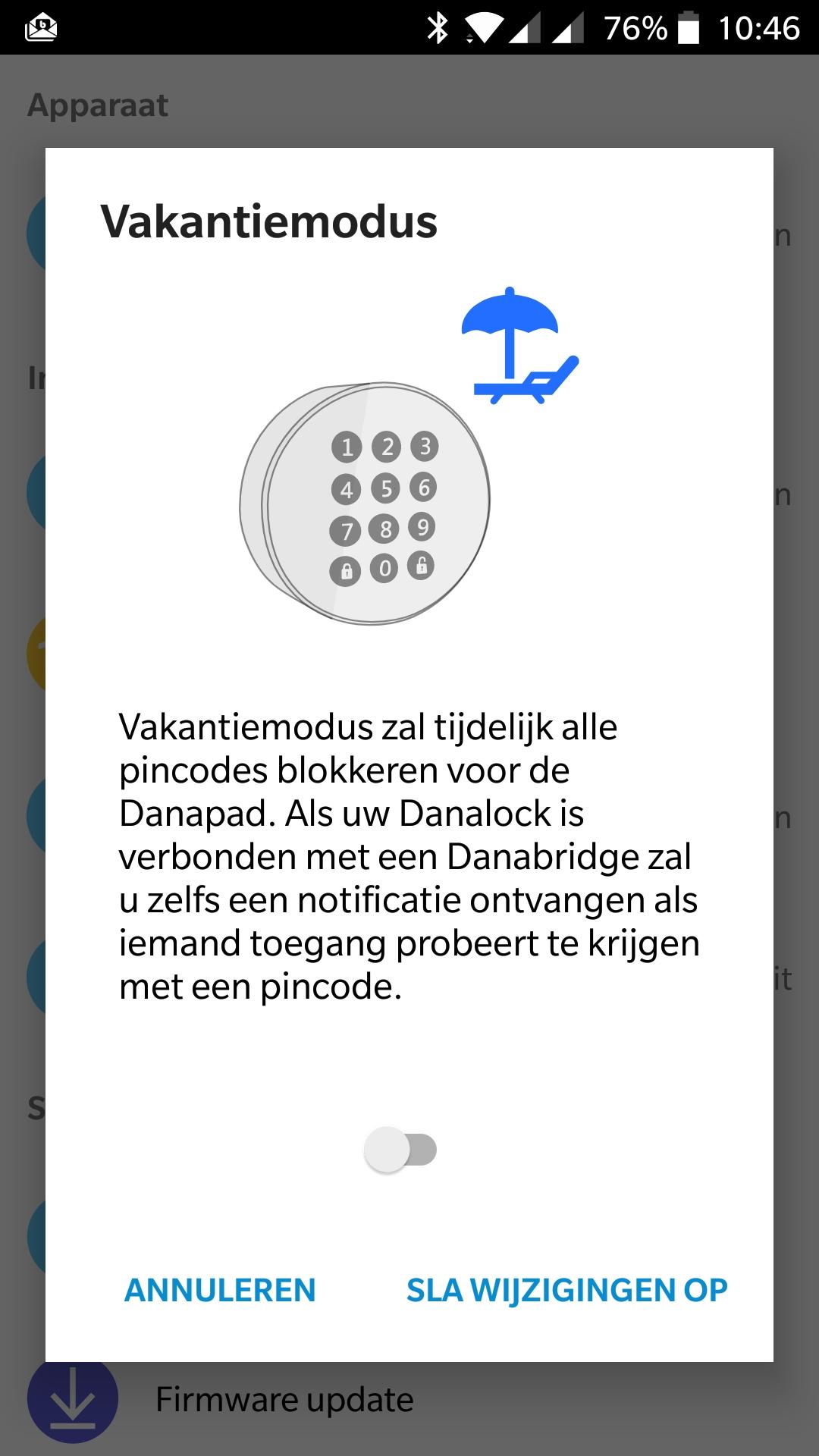 Danapad vakantie modus, danalock V3, pincode, elektronisch slot