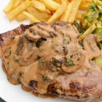 Steak with Creamy Mushroom Peppercorn Sauce