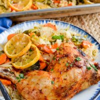 Syn Free Lemon Garlic Chicken Rice Traybake