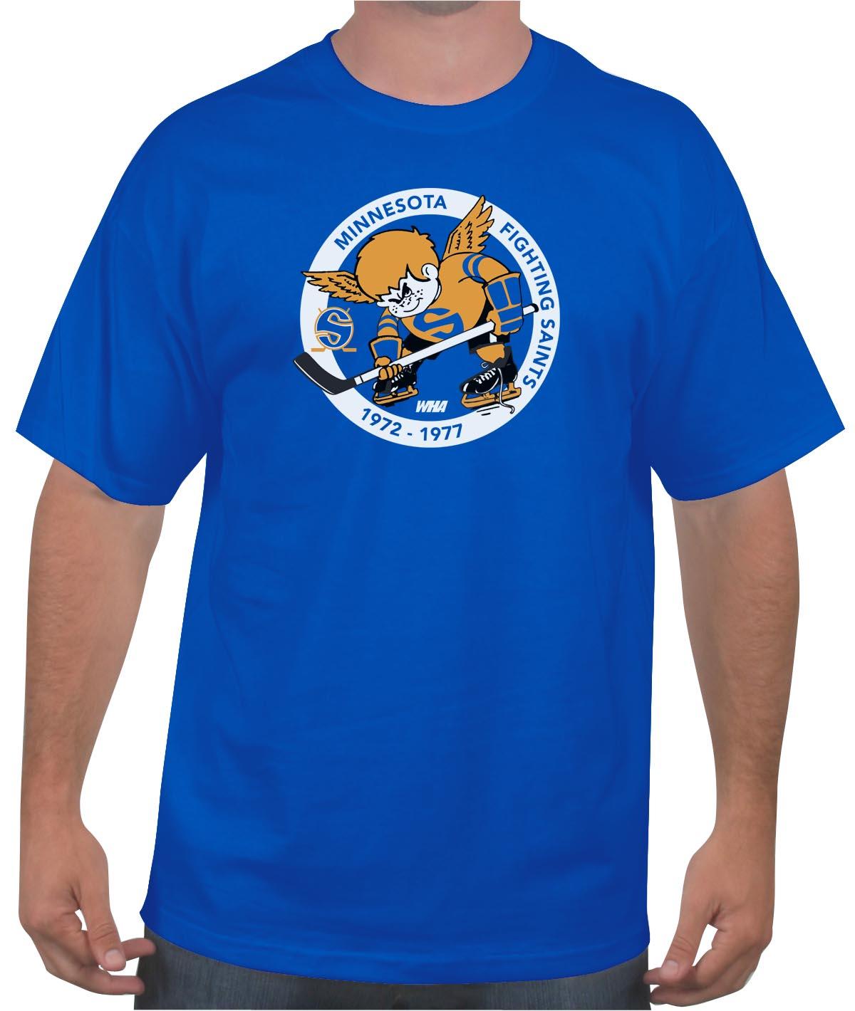 f8c736d42 Buy the Minnesota Fighting Saints Hockey T-Shirt Online : WHA 1972 ...