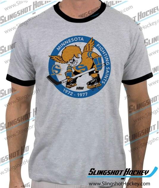 Minnesota-Fighting-Saints-ringer-heather-grey-black-mens-tshirt