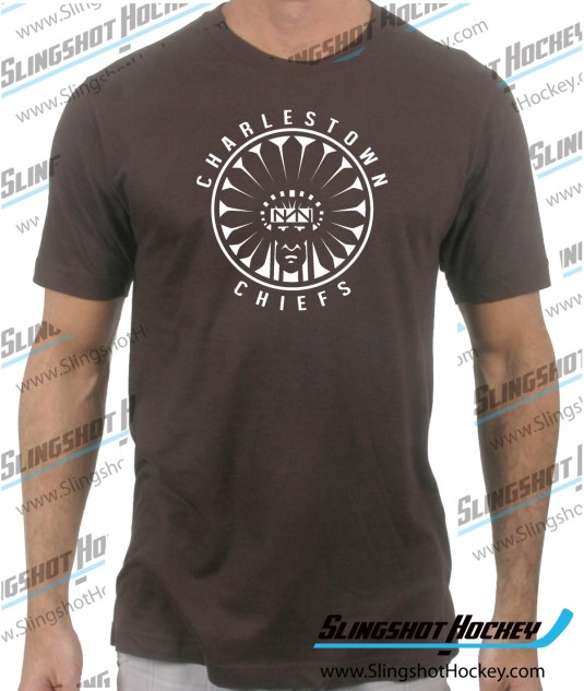 Charlestown-Chiefs-Warrior-slapshot-brown-mens-hockey-tshirt
