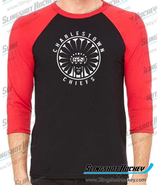 Charlestown-Chiefs-Warrior-slapshot-raglan-black-red-slingshot-hockey