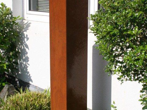 cortenstahl brunnen garten gartenbrunnen springbrunnen cortenstahl-monolith