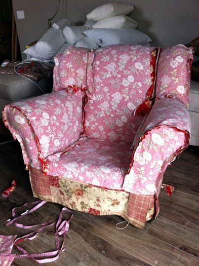 red floral slipcover red floral chair slipcovers by shelley