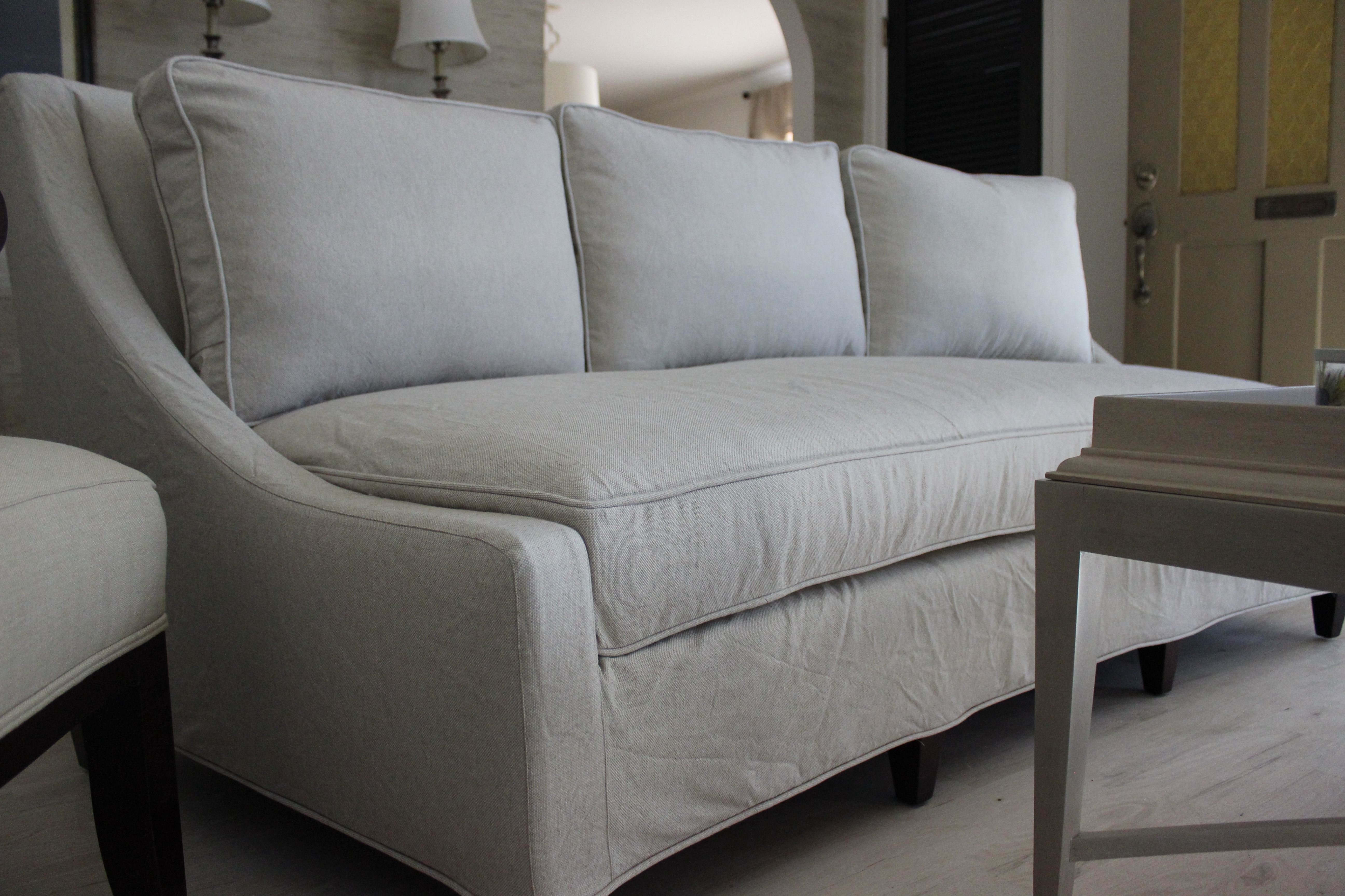 Bent couch slipcover Slipcovers by Shelley