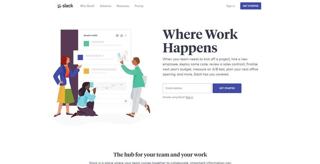 Slack remote work software
