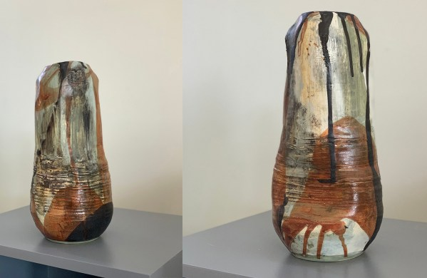 thrown and altered tall vase