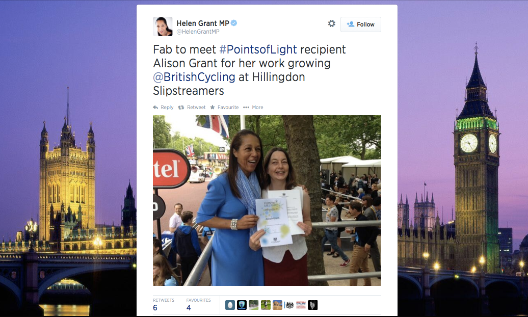 July 2014: Alison Grant Receives Points of Light Award