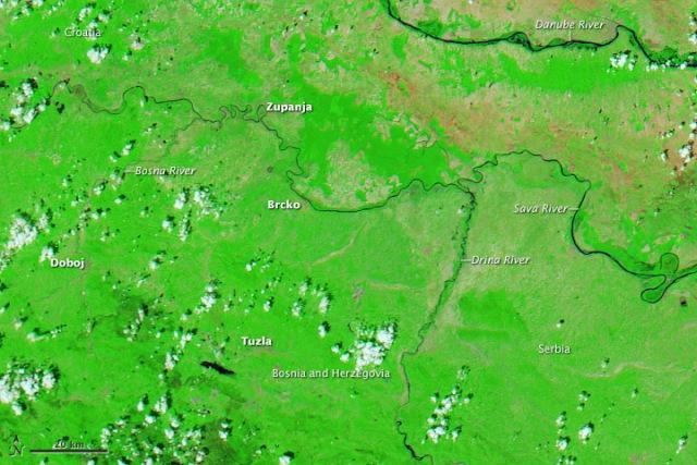 poplave poplava satelitska snimka nasa hrvatska bosna srbija