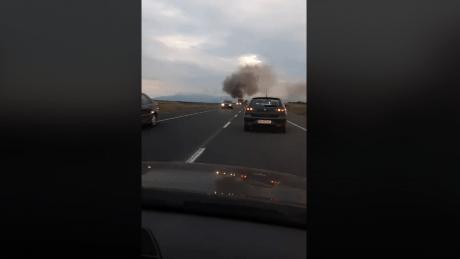 Камион гори на пат кај Велес (ВИДЕО)