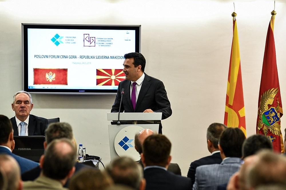 Заев oд Подгорица: Ќе ги поддржиме бизнисмените од двете земји