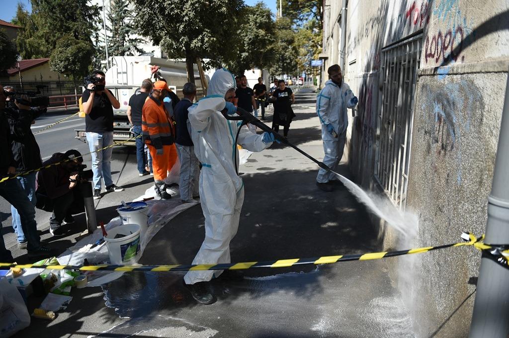 Се бришеа графити со говор на омраза