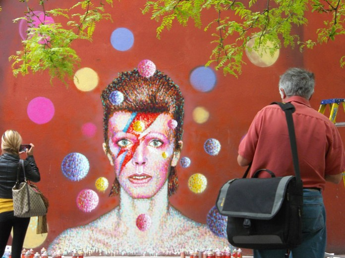 New mural painted by James Cochran aka Jimmy C showing the image of Bowie from the cover of his 1973 album Aladdin Sane painted in Brixton, London., Image: 164611298, License: Rights-managed, Restrictions: None, Model Release: no, Credit line: Profimedia, Press Association