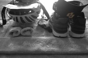 triathlon transition setup with socks, helmet, and shoes