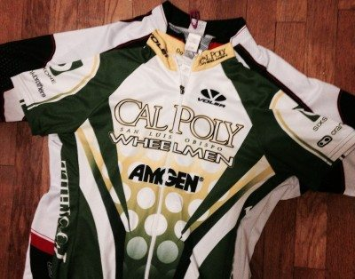 Voler Jerseys stacks on each other. Cal Poly Wheelmen jerseys.