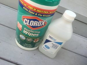 clorox and alcohol to clean used cycling shoes