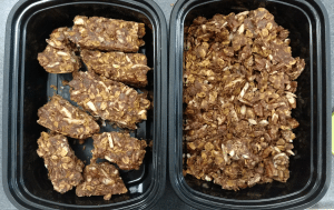 The final yield! Half bite-sized bars, half crumbled granola.
