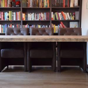 Balkentafel stalen frame houten blad
