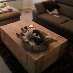 Salontafel blokvorm met lade van steigerhout
