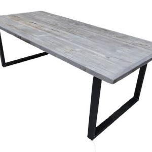 Tafel met verlijmd grenen Grey Wash blad met stalen U onderstel