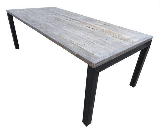 Tafel met verlijmd grenen grey wash blad en omgekeerd u onderstel
