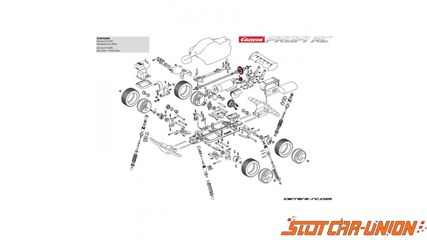 Carrera Rc Profi Main Gear Pinion For Copper Maxx Red