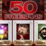 50 free spins, 5 different slots. November no deposit bonus