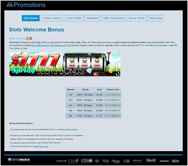 Slotocash bonus offers