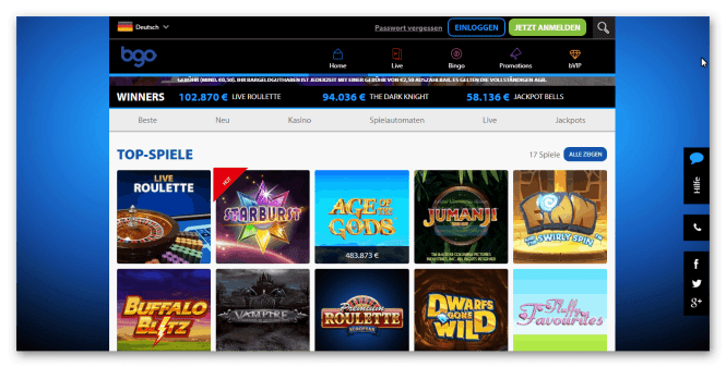 BGO Casino Game Lobby