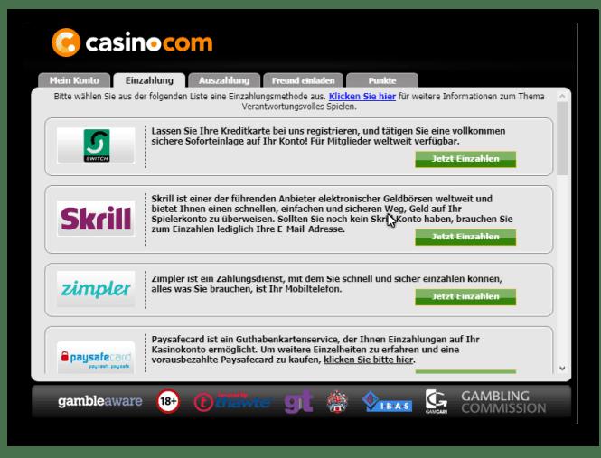 Casino.com Kassierer
