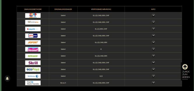 Eurogrand Casino Einzahlungsmöglichkeiten Screenshot